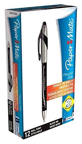 PaperMate Flexgrip Elite Retractable Ballpoint Pen Black, Pack of 12 £1.99 @ Amazon (Add on item)