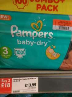 Pampers size 3 Jumbo pack £3.49 at Co-operative Food instore