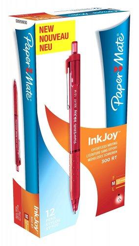 Paper Mate Inkjoy 300 RT Retractable Ball Pen Medium Tip 1.0mm - Red (Box of 12) £1 prime / £4.99 non prime @ Amazon