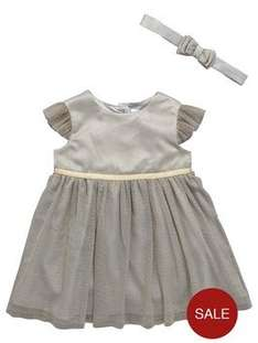 Ladybird Baby Girls Lurex Occasion Dress with Headband (Was £22.00) Now £8.75 at Very