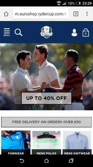 40% off a lot of the official Ryder Cup clothing, some nice gear, some not so much @ Ryder Golf Shop