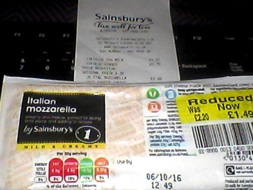 Sainsbury's Italian Mozzarella 400g at ALPERTON, Now £1.49, Price Reduction from £2.20