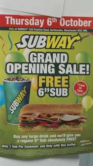 """Free 6"""" subway with purchase of large drink with voucher"""
