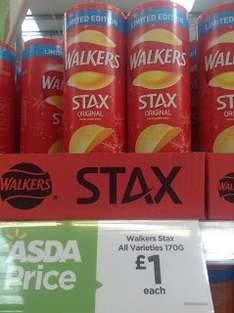 Walkers Staxs (Walkers version of Pringles) 170g Tubs £1 @ Asda