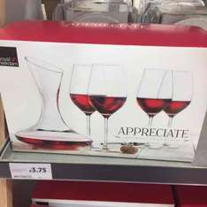 Decanter and 4 wine glasses £3.75 at Tesco Newton Aycliffe