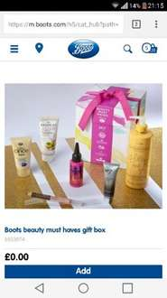 Boots- free beauty box worth £50 when spending £40 but can spend less