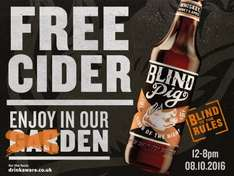 Manchester Spinningfields Sat 8th Oct Blind Pig cider free samples + BOGOF vouchers being handed out
