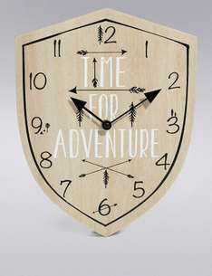Time for Adventure Wooden Clock was £19.50 now £7.20 C+C @ M&S (Light Up Happy Canvas was £25 now £8)