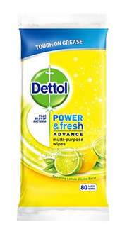 Dettol Power and Fresh 80 Wipes Pack of 4 (Total 320 Wipes) Add On item - £4 @ Amazon