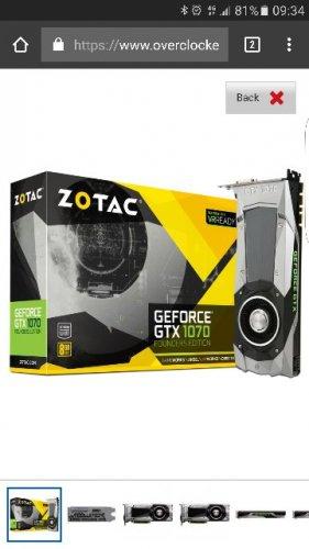 Zotac gtx 1070 8GB nVidia Founders £368.99 @ Overclockers