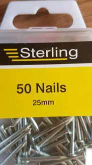 sterling 50 nails, 25mm, reduced to 25p tesco
