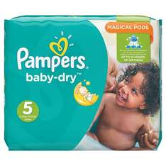 Pampers Baby-Dry Nappies Monthly Saving Pack - Size 5 - 144 Nappies £13.33 (Prime Delivery) or £10.66  (Prime Subscribe and Save) Amazon