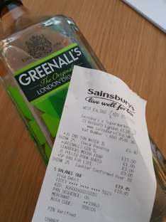 1 Litre Gin, Greenall's London Dry £15 from Sainsbury's