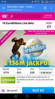 10 Euromillions like best for £9 instead of £25 at Wowcher (w/ Lottoland)