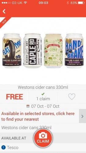 Free cider from tesco via checkoutsmart