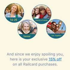 15% off all railcard purchases (16-25, senior, disabled, two together, family) £25.50