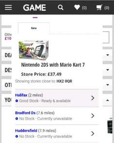 Nintendo 2DS With Pre Installed Mario Kart 7 & Red & White Console £37.49 Black & Blue Console £39.99 Instore @ Game