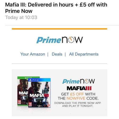 MAFIA III £40 (Mafia 3 £35 free p&p with promo code - prime now app) @ Amazon