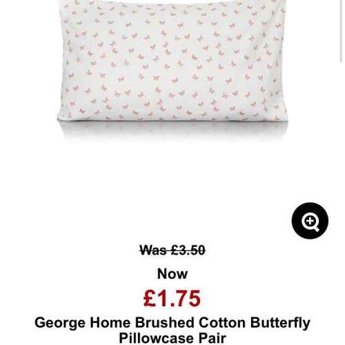 pair of 100% cotton pillow cases £1.75 @ Asda
