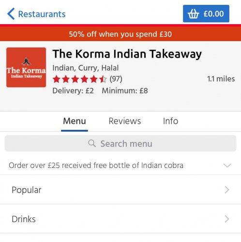 50% off from the Korma Indian Takeaway via Just Eat (Bangor NI)