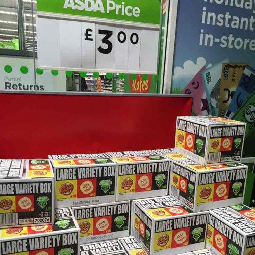 30 packets of crisps/ snacks - skips, hula hoops, space raiders,  £3.00 at asda