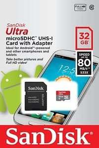 SanDisk Ultra 32 GB Mirco SD and SD Adapter up to 80 Mbps - £7.50 Sainsbury Bracknell (£9.45 Amazon / Moby Memory)