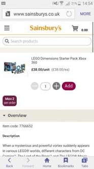 Xbox 360 Dimensions Starter pack £38 @ Sainsbury's in store & online