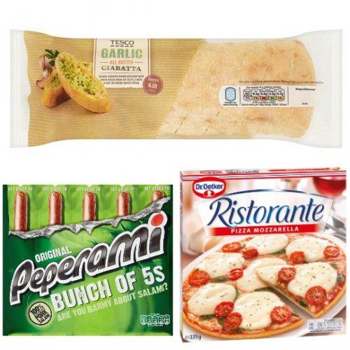 Tesco Garlic Ciabatta 260g 75p, 5 Pack Peperami £1.25 at Tesco, Dr. Oetker Ristorante Pizza £1.50 at Tesco and £1.25 at Sainsburys