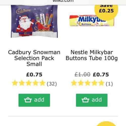 Wilko - Cheap Christmas Chocolates/Stocking Fillers 75p