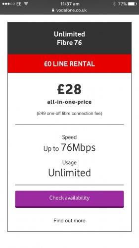 Vodafone fibre broadband 76mbps unlimited £28/month