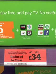 Now tv smart box (new one pause tv) 5 month entertainment £34 @ Sainsbury's