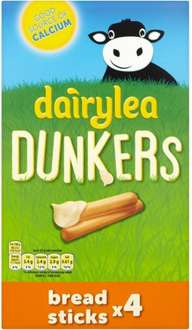 Dairylea Dunkers Cheesy Cheddar / Cheesy Bacon / Ritz  (4 x 46g) Dairylea Dunkers Breadsticks / Jumbo Tubes (4 x 47g) Half Price was £2.25 now £1.12 @ Tesco