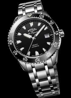 Rotary Legacy Ocean Men's Automatic Watch with Black Dial Analogue Display and Silver Stainless Steel Bracelet £287.69 @ Amazon