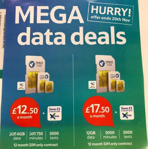 New Tesco Mobile Sim Deals (£12.50 6GB or £17.50 12GB)
