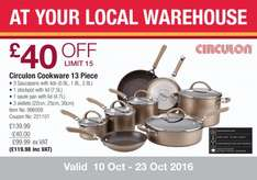 Circulon Hard Anodized 13 Piece Cookware Set in Bronze at Costco for £119.98