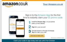 £5 off when you sign into the Amazon App and spend £25