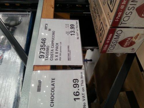 Tassimo pods Costa latte XL £16.49 and cappuccino £13.99 @ costco