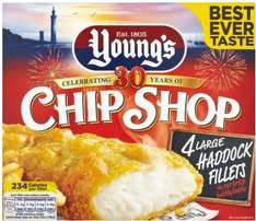 Young's Chip Shop Large Haddock (54%) Fillets in Crisp Bubbly Batter (4 per pack - 480g) was £4.00 now £2.50 @ Tesco