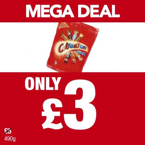 490g Celebration pouch £3 at Premier shops.