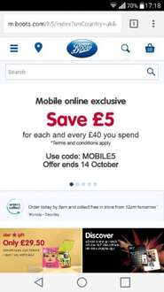 Boots save £5 for every £40 spent (mobile website)