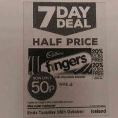 iceland 7day offer chocolate fingers 0.50p Half Price