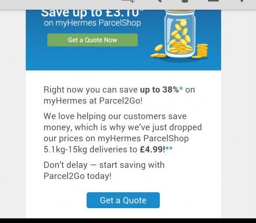 Send A Parcel Up To 15KG £4.99 + VAT (£5.99) By Hermes Through Parcel2Go