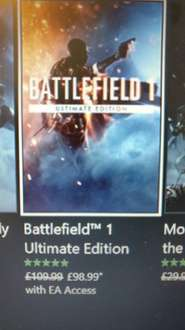 battlefield 1 ultimate edition £98.99 with EA access