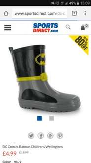 Boys Batman Wellies £4.99 at Sports Direct + £4.99 delivery