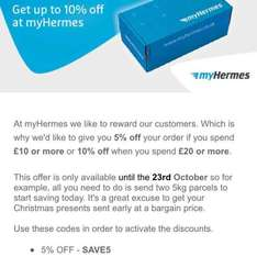My Hermes upto 10% off parcel when you spend £20 couriers until 23rd October