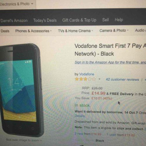 Vodafone Smart First 7 - £14.99 prime / £18.98 non prime @ Amazon