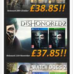 pre order for Titanfall 2 £38.85, dishonour 2 £37.85, watch dog 2 £39.85 instore @ Simply Games