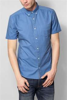 Mens Blue Short Sleeve Oxford Shirt Next £5 reduced from £18 (XS, S, M &L)