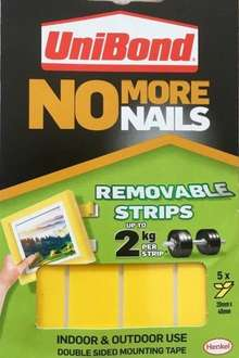 UniBond No More Nails Removable Instant Grab Tape Pack of 5 Strips (20mm x 4cm) £1@Poundland
