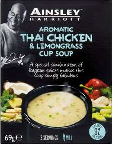 Ainsley Harriott Cup Soup Aromatic Thai Style Chicken & Lemongrass (3 per pack - 69g) was 89p now 50p @ Tesco